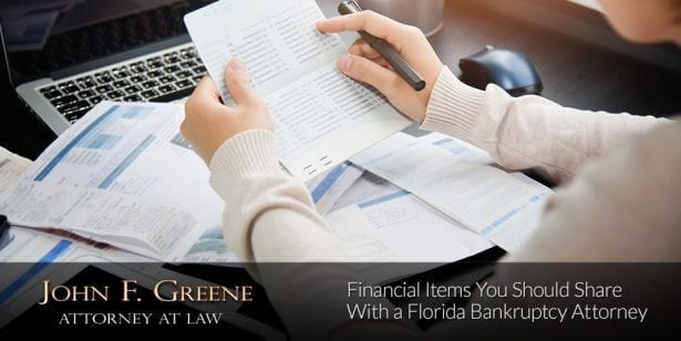 Financial Items You Should Share With a Florida Bankruptcy Attorney