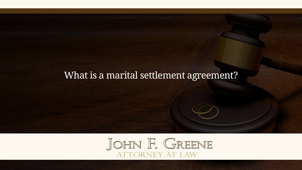 What Is A Marital Settlement Agreement